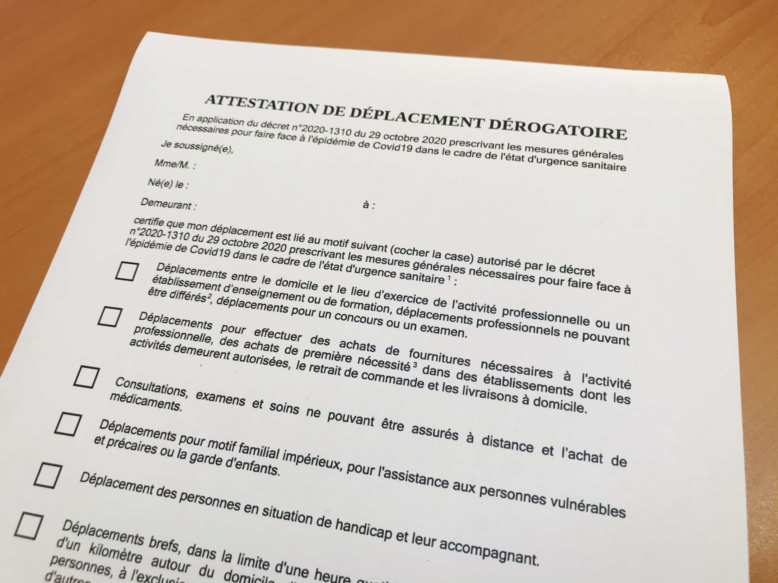 Attestation De Deplacement Derogatoire Et Justificatifs De Deplacement